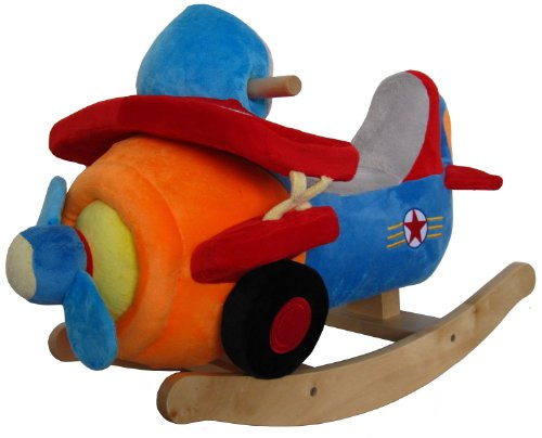 Sweety-Toys 4751 Schaukeltier Schaukelpferd,supersüss Flugzeug, Soft Plüsch,mit Sound 4-fach Sweety-Toys,robust