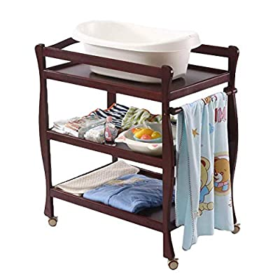 LNDDP Baby Changing Table Universal with Pad, 3-Shelf Mobile Diaper Station Dresser, Wood Toddler Nursery Organizer