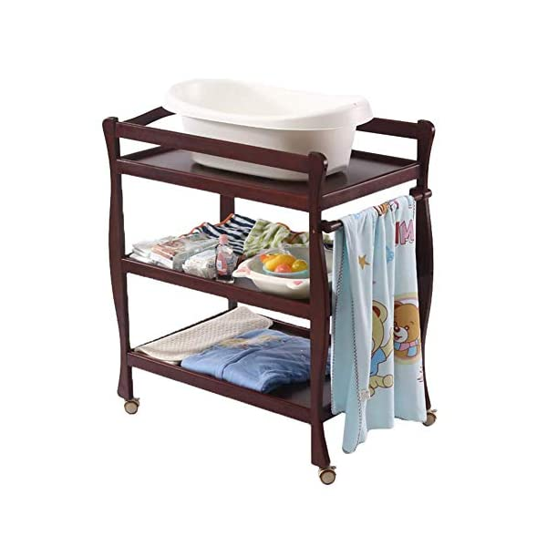Baby Changing Table Universal with Pad, 3-Shelf Mobile Diaper Station Dresser, Wood Toddler Nursery Organizer GUYUE Silent caster with brake. Safety rails enclose all four sides of the changing area Strong and sturdy wood construction: Pine + solid wood paint free board. 1