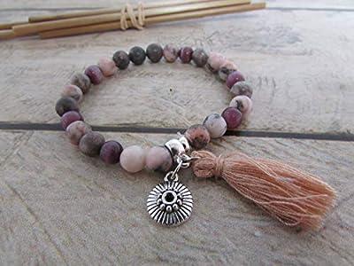 Bracelet fait main, Bracelet en perle de pierre de gemmes jaspe rose, bracelet élastique 16 cm, breloque, pompon, Cadeaux anniversaires, cadeaux Noël, cadeaux maman