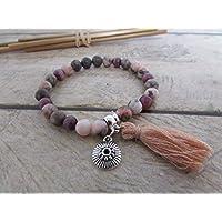 Bracelet fait main, Bracelet en perle de pierre de gemmes jaspe rose, bracelet élastique 16 cm, breloque, pompon , cadeaux pour elle, Cadeaux anniversaires, cadeaux Noël, cadeaux maman, st Valentin, mariage, cadeaux maitresses