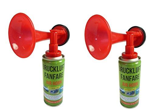 2 Stück Air Horn Druckluftfanfare extrem laut, Ideal für Sportveranstaltungen oder als Notsignal, Tonreichweite bis zu 1500 Metern