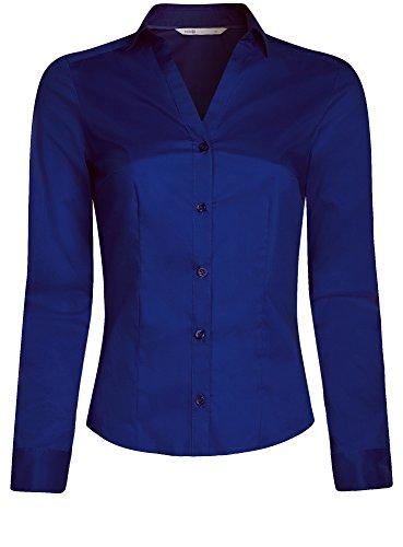 oodji Ultra Donna Camicia Attillata con Scollo a V Blu (7500N)