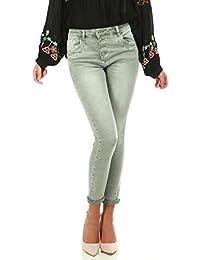 La Modeuse Jeans slim vert grisé délavé et froissé