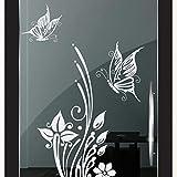 DD Dotzler Design 2111-2 Milchglas-Folie Fenster-Folie Klebe-Folie Glas-Dekorfolie Fenster-Aufkleber Sichtschutz-Folie Fenster-Tattoo Schmetterling Blume Duschkabine