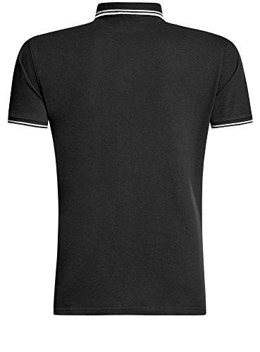 oodji Ultra Herren Jacquard-Poloshirt mit Kontrastbesatz Schwarz (2910B)