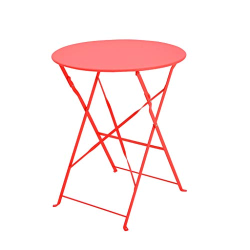 Verstellbarer Runder Café Tisch (ZXW Klapptisch- Runder Klapptisch des Balkon-Schmiedeeisens, Hauptbalkon-Café-Tisch im Freien (Farbe : Red, größe : 60x71cm))