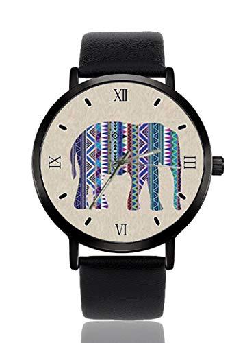 Tribal gemusterte Elefanten-Armbanduhr für Herren und Damen, lässiges Lederarmband, analog, Quarz, Unisex