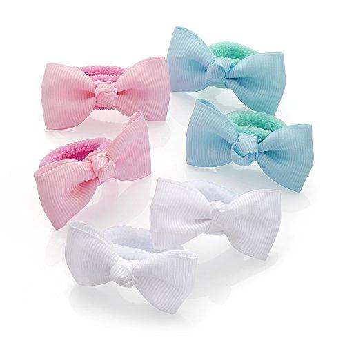 6 Pastel Colour Grosgrain Ribbon Bow Ponio Set Hair Elastics