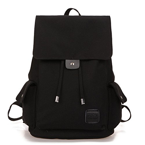 Mädchen Junge Schultern Leinwand Beiläufiger Beutel Computer-Rucksack Reisetasche Schultasche,Black-M