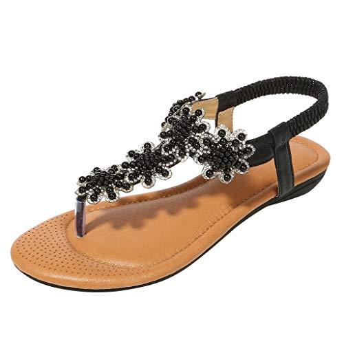 LILIGOD Dame Sommer Böhmische Sandalen Frauen Mode Strass Römische Sandalen Gummiband Slip-On Freizeitschuhe Flache Bequem Zehenschuhe Open Toe Strand Sandalen Einzelne Schuhe