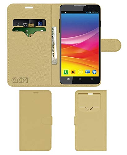 Acm Leather Window Flip Wallet Front & Back Case for Micromax Canvas Nitro 2 E311 Mobile Cover Golden