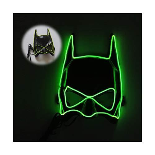 YOIO LED-Maske EL Kaltlichtglühlinie Fledermaus Halbe Gesichtsmaske, grün