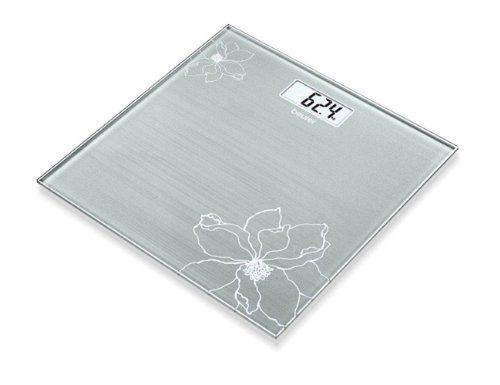 Beurer GS-10 - Báscula de baño, color grisáceo con detalle de flor...