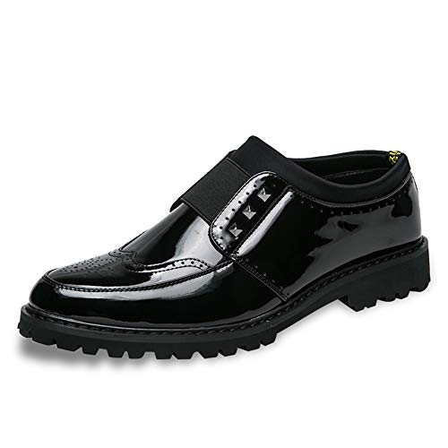 Kleid Schuhe Klassische Carving Komfortable Laufsohle Lackleder Brogue Rivet Dekoration Party Schuhe (Color : Schwarz, Größe : 41 EU) ()