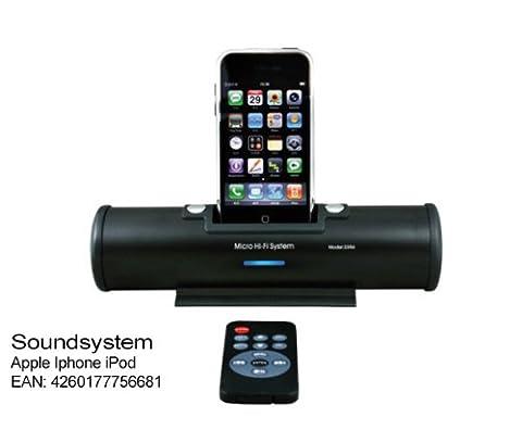 Soundsystem Apple Iphone iPod Touch 2G 3G, 3GS 4G Classic - Farbe Schwarz. Im Batteriebetieb 6 Stunden Playback. Micro Hifi stereo Dockingstation Audiosystem Anlage mit Fernbedienung & Lautsprecher 2 x 3 Watt