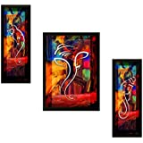 SAF 'Ganesh' Framed Painting (Synthetic, 13.5 inch x 22 inch, Modern Art Wood, Set of 3, SANFSAS7500)