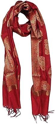 Abdul salam and sons Women's Cotton Banarasi Cotton Dupatta (ASS09 _Red_ Free S