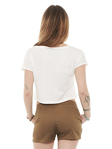 Only Damen T-Shirt, einfarbig Bianco