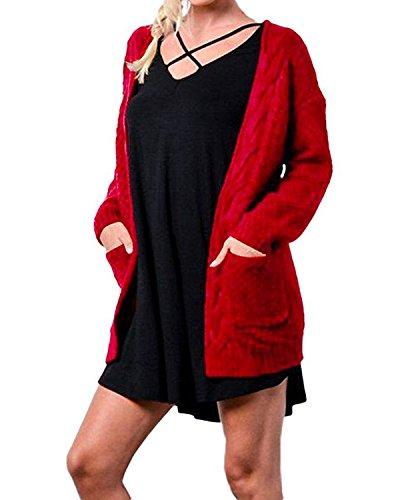Cnfio Damen Herbst Winter Causual Langarm Strickjacke Cardigan Pullover Pulli rot XL