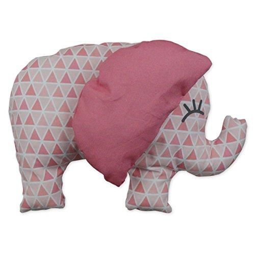 Kit à coudre doudou éléphant rose en tissu bio. Kit de couture complet. Jeu de loisir créatif pour enfant à partir de 8 ans (Inès l'éléphant)