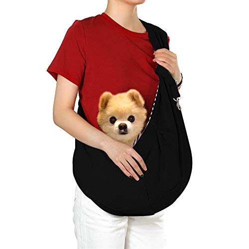 hanwey Perro Sling Cachorro Sling Bolsa para Perros pequeños Cachorro Gatos Mascotas Animales hasta 10 lbs, cómodo, Manos Libres, Lavable a máquina