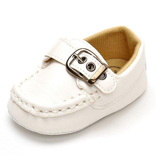 estamico Unisex Baby Leder Schnalle Baumwolle Kleinkind Schuhe, Weiß - weiß - Größe: 3-6 monate EU 11 (Kleinkind-größe 4-weiß Schuhe)
