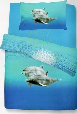 Double Bed Dolphin Sea Life Aquarium Duvet Quilt Cover Bedding Set