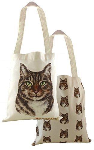 Evans Lichfield Made in UK 100% Baumwolle Tote Tuch Einkaufstasche gestromt Katze Kätzchen 34x 38cm (Tote Bag Kätzchen)