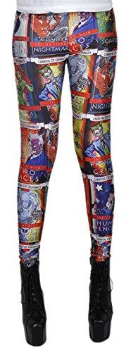 Mädchen Leggins Leggings Gotham Most Wanted Print, One Size S-M-L, Mehrfarbig (Scarecrow Aus Batman Kostüme)