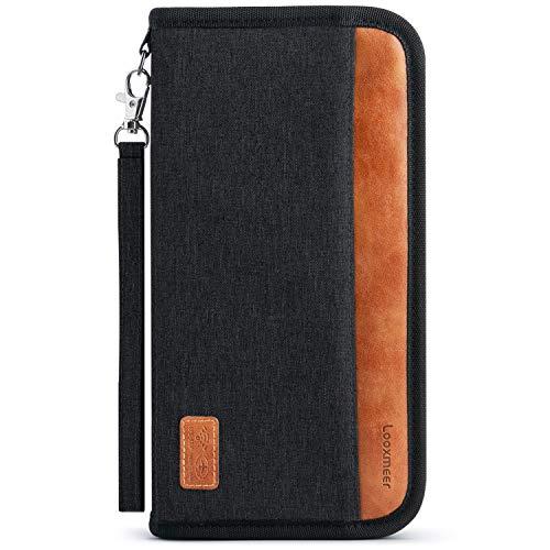Looxmeer Porta Documenti da Viaggio Porta Passaporto Famiglia Protezione da RFID Impermeabile Resistente Portafoglio per Passaporti, Carte di credito, Carte D'Imbarco, Contanti, Monete (nero)