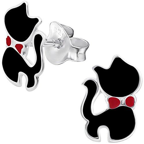 JAYARE Kinder-Ohrstecker Schwarzer Kater Katze 925 Sterling Silber Emaille schwarz rot 10 x 7 mm Mädchen-Ohrringe Halloween