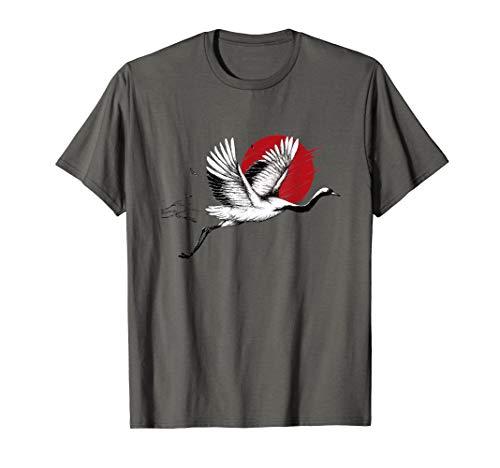 Japanische Kunst Kirschblüte Fliegender Kranich T-Shirt