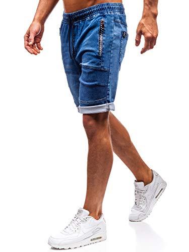BOLF Hombre Pantalón Corto Pantalones Vaqueros Denim Regular Pantalón de Algodón Red Fireball HY188 Azul Oscuro XL [7G7]