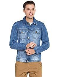 KROSSSTITCH Men Denim Solid Jacket with Button Closer