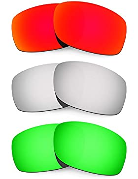 Hkuco Mens Replacement Lenses For Oakley Fives 3.0 Red/Titanium/Emerald Green Sunglasses