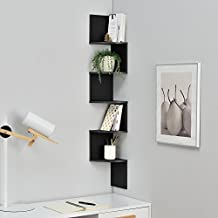 [en.casa] Estantería de pared estilosa negro mate diseño retro