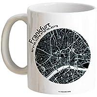 Tasse Henkeltasse FRANKFURT Stadtplan 5 Farben, hochwertiger Henkelbecher Geschenktasse Kaffeebecher Kaffeetasse, kleines persönliches Geschenk für viele Gelegenheiten von 44spaces