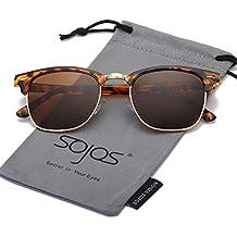 SOJOS Gafas de sol polarizadas sin montura Clubmaster Semi lente transparente SJ5018