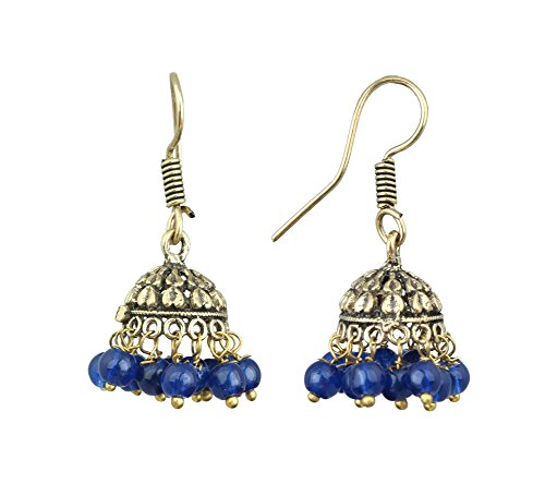 Waama Jewels Gold Plated Brass Jhumka/Jhumki Casting Earring for women and young girls special party wedding birthday college office wear with pearl color (Blue)  available at amazon for Rs.99