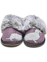 4cb0f35de88c2 Lazy Dogz Missy Herringbone Ladies Mule Slippers Pink