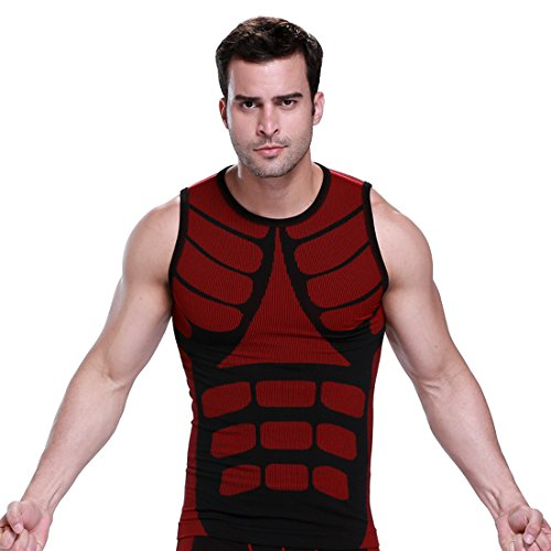 ZEROBODYS Mens Outdoor asciugatura rapida Gilet Vest Sport Esecuzione Abbigliamento SS-M08 (Rosso, XXL)