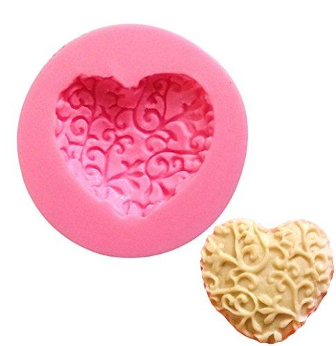 Qinlee Silikon-Form zum Backen und Basteln Herz Rose Blume für Kuchen Muffins handgefertigte Seife Kekse Schokolade Eiswürfel 3D Mould (Herz Silikon Kuchen Form)