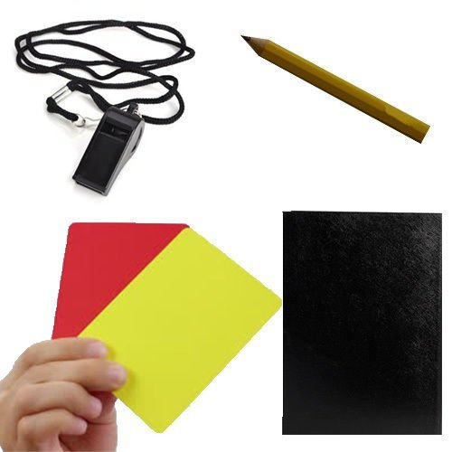 Sports Referee Kit Red Card Footy Whistle Game Sheets Pocket Book Netball Rugby by M.Y
