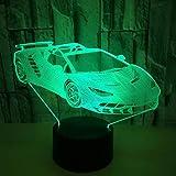HLHHL-Lamp Ferrari 488 3D Night Light IlusióN óPtica AcríLico Panel De Siete Colores Base De Abs USB LíNea De Datos Touch Control Remoto Juguetes para NiñOs Dormitorio Regalos