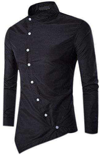 Fuxiang camicie uomo slim fit maniche lunghe casual camicia top camicetta shirt moda men camicia abito fantasia asimmetrica shirts nero m