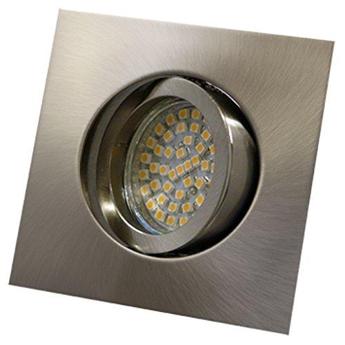 LED Einbaustrahler / Niedervolt / Aluminium / Spot / Einbauleuchte / Einbauspot / schwenkbar / QUADRATISCH / QUADRAT-14439 / MR16 / GU5.3-12V (Warmweiß)