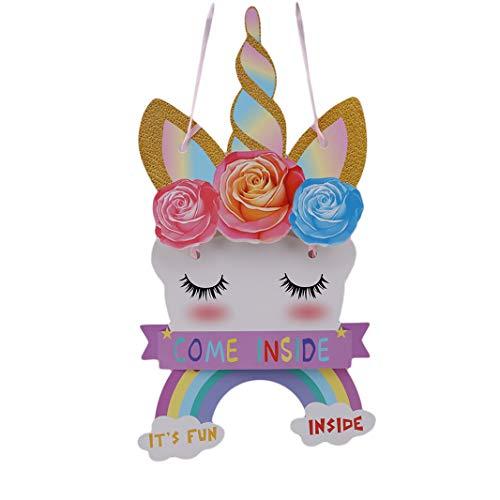 Sperrins Einhorn Tür hängende Geburtstag Dekoration Einhorn Thema Baby Hochzeit und Geburtstag Party Ornamente (L)