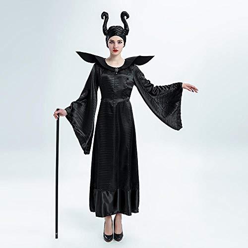 Yunfeng Halloween Bruja Disfraz para Mujer Negra Bruja Rendimiento Disfraz Halloween Princesa Hada Madrina Rendimiento Traje
