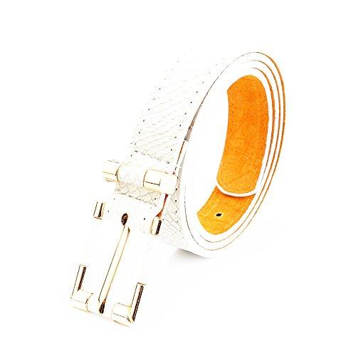 lureme®women moda magro stretta del grano del coccodrillo regolabile tratto cintura cintura in vita di(13000012) (beige bianco)